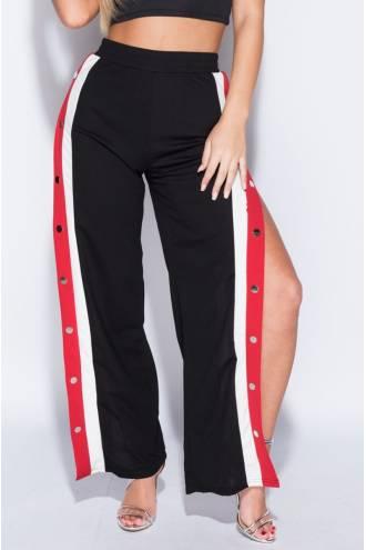Pantalon Sportish Button cu banda Alb/Rosu