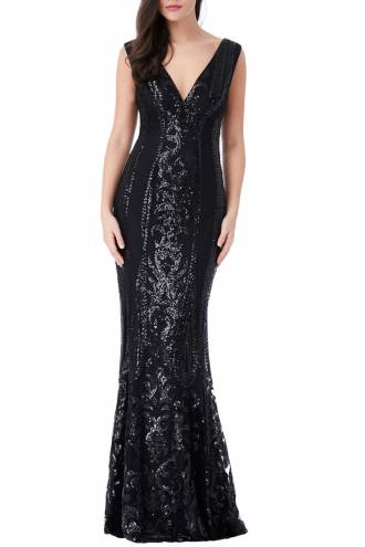 V Neck Sequin Fishtail Maxi Dress