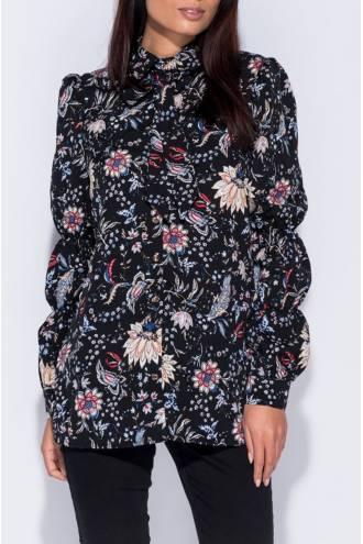 floral-print-tie-neck-blouse