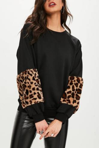 Pulover Leopard  Negru