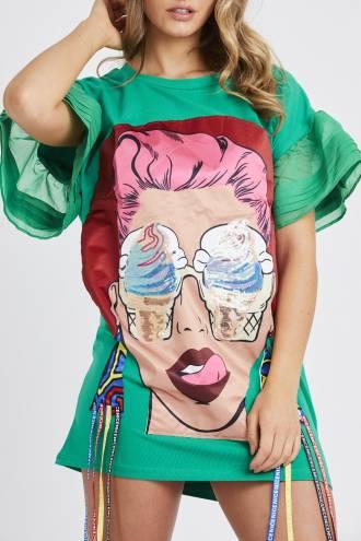 Rochie/tricou Ice Cream Green