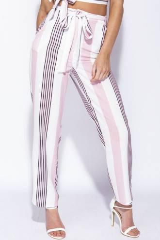 Pantalon cu cordon Pink Stripes