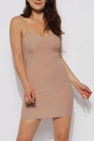 Rochie Ribbed Nude