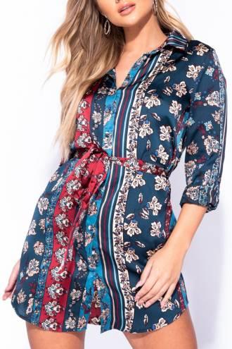 floral-scarf-print-waist-tie-shirt-dress
