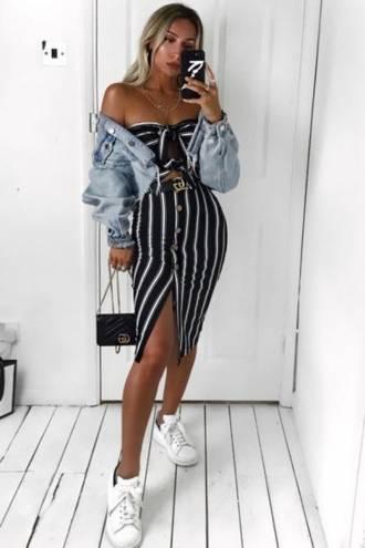 Rochie Stripe Black