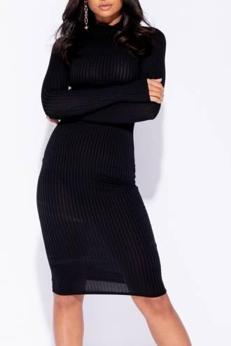 Rochie Basic Ribbed Black