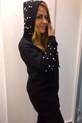 Rochie/hanorac Pearls Black