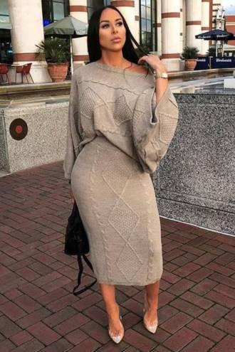 Compleu fusta si bluza Sandra Bej