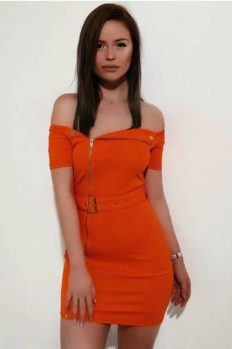 Rochie Biker Neon Orange