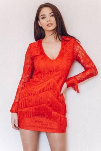 Rochie Tassels Red