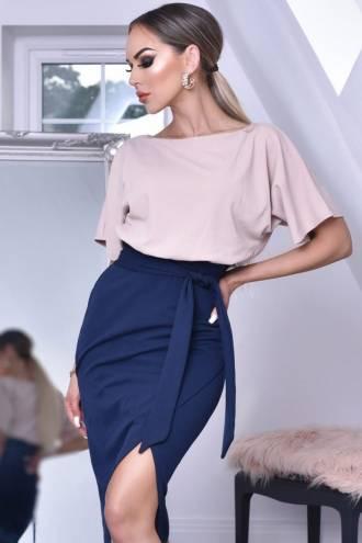 Rochie Sabrina Roz/Bleumarin