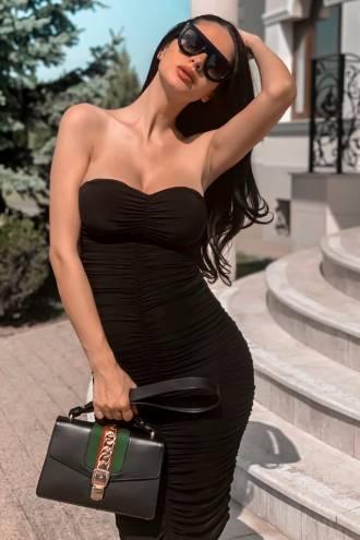 Rochie midi din voal Drape Black