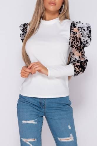 Bluza Clasic Velvet White/Black