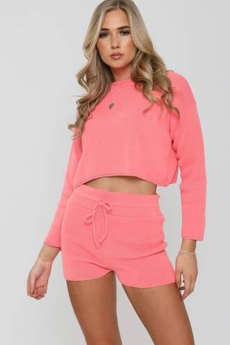 Set pantalon scurt si bluza din tricot Roz
