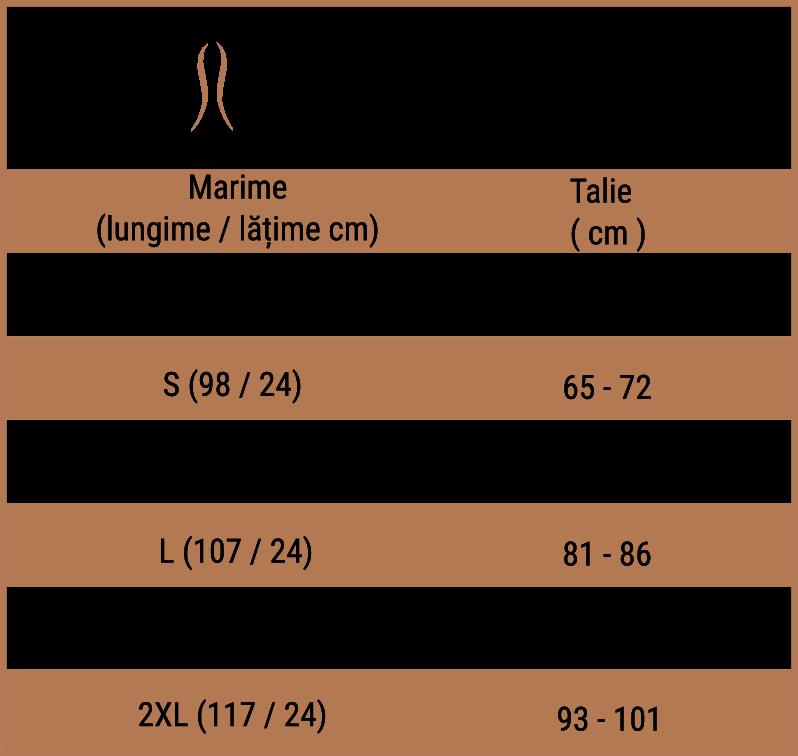 tabel de marimi centura fitness neolatex